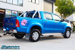 "Rear right view of a Blue Toyota Vigo Hilux Dual Cab before fitment of a Bilstein 2"" Inch Lift Kit"