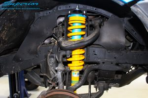"Right front inside view of the fitted Bilstein 2"" Inch Front Strut + Coil Spring"