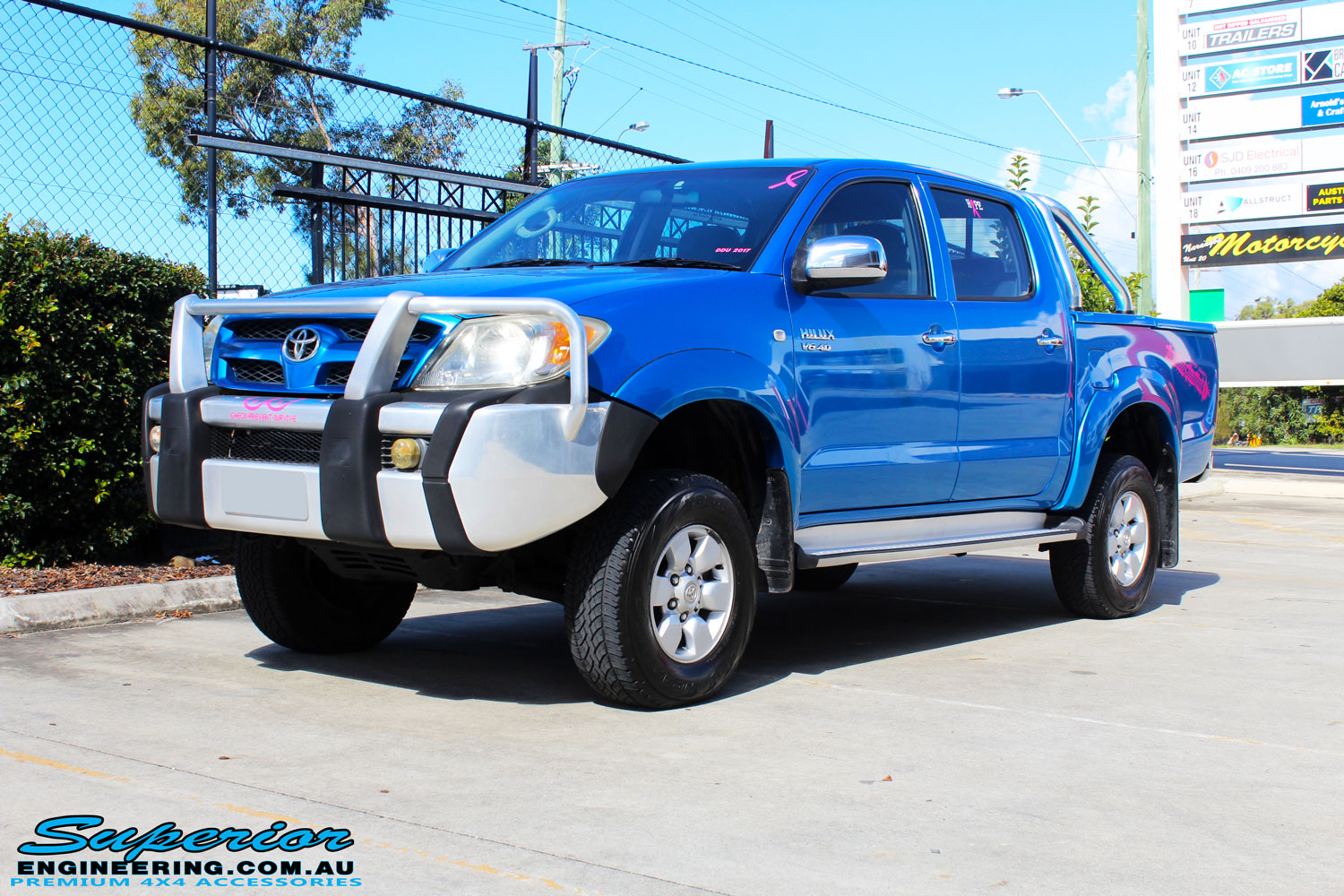 "Left front side view of a Blue Toyota Vigo Hilux Dual Cab after fitment of a Bilstein 2"" Inch Lift Kit"