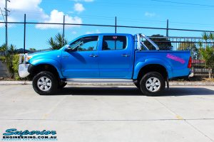 "Left side view of a Blue Toyota Vigo Hilux Dual Cab after fitment of a Bilstein 2"" Inch Lift Kit"