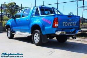 "Rear left view of a Blue Toyota Vigo Hilux Dual Cab after fitment of a Bilstein 2"" Inch Lift Kit"