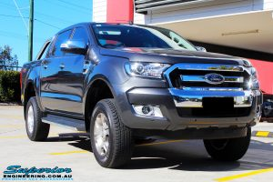 Right front side view of a Ford PXII Ranger in Grey after fitment of a Super Pro Ezy Lift 45mm Lift Kit