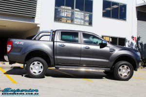 Right side view of a Ford PXII Ranger in Grey after fitment of a Super Pro Ezy Lift 45mm Lift Kit