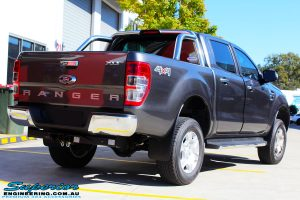 Rear right view of a Ford PXII Ranger in Grey after fitment of a Super Pro Ezy Lift 45mm Lift Kit