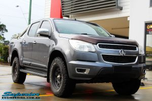 """Right front side view of a Grey Holden RG Colorado Dual Cab before fitment of a Superior Nitro Gas 3"""" Inch Lift Kit"""