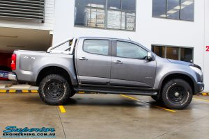 "Right side view of a Grey Holden RG Colorado Dual Cab before fitment of a Superior Nitro Gas 3"" Inch Lift Kit"