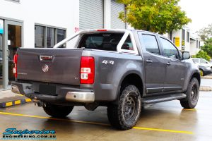 """Rear right view of a Grey Holden RG Colorado Dual Cab before fitment of a Superior Nitro Gas 3"""" Inch Lift Kit"""
