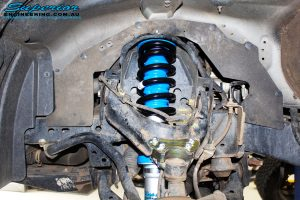 "Front left inside guard view of the fitted Superior Nitro Gas 3"" Strut + Coil Spring"