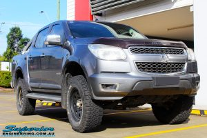 """Right front side view of a Grey Holden RG Colorado Dual Cab after fitment of a Superior Nitro Gas 3"""" Inch Lift Kit"""