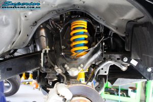 Front right inside view of the fitted Bilstein Strut + King Coil Spring
