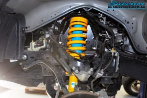 Front left inside view of the fitted Bilstein Strut + King Coil Spring