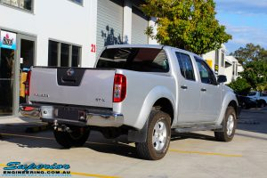 Rear right view of a Silver Nissan D40 Navara being fitted with a Brown Davis Long Range Fuel Tank @ Superior
