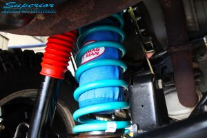 """Rear left inside close up shot of the fitted 3"""" Inch Airbag Man Coil Air Helper"""