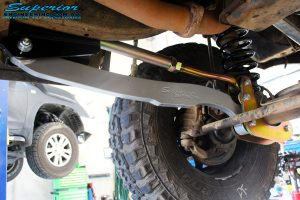 Front left underbody shot of the fitted Superior Hybrid 5 Link Radius Arm