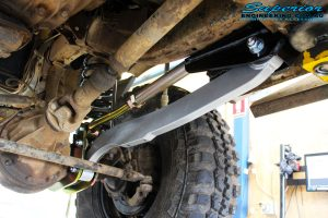 Front right underbody shot of the fitted Superior Hybrid 5 Link Radius Arm
