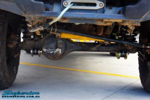 Front underbody shot looking backwards of the fitted Superior Hybrid 5 Link Radius Arm + Coils