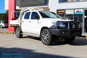 "Right front side view of a Toyota Vigo Hilux Dual Cab in White before fitment of a Superior Nitro Gas 2"" Inch Lift Kit"