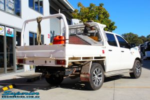"""Rear right view of a Toyota Vigo Hilux Dual Cab in White before fitment of a Superior Nitro Gas 2"""" Inch Lift Kit"""
