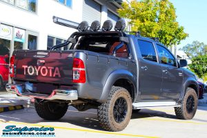 """Rear right view of a Grey Toyota Vigo Hilux Dual Cab before fitment of a 2"""" Inch Lift Kit, VRS Winch & Ironman 4x4 Bullbar"""