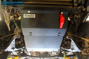 Front underbody shot of the fitted Superior Engine Diff Guard with Rated Recovery Point