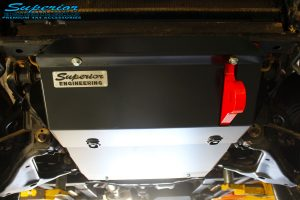 Front close up underbody shot of the fitted Superior Engine Diff Guard with Rated Recovery Point
