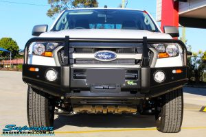 Front on close up of the fitted Ironman 4x4 Commercial Bull Bar