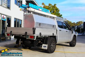 """Rear right view of a Ford PXII Ranger in Silver before fitment of a Superior 2"""" Inch Remote Reservoir Lift Kit"""