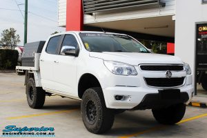 """Right front side view of a White Holden RG Colorado Dual Cab before fitment of a Superior 2"""" Body Lift"""