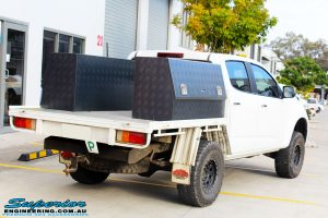 """Rear right side shot of a White Holden RG Colorado Dual Cab before fitment of a Superior 2"""" Body Lift"""