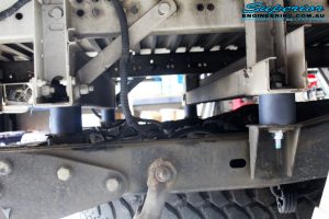 """Right side close up underbody shot of the fitted 2"""" Body Lift Blocks"""