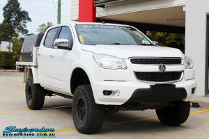 """Right front side view of a White Holden RG Colorado Dual Cab after fitment of a Superior 2"""" Body Lift"""