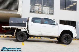 """Right side view of a White Holden RG Colorado Dual Cab after fitment of a Superior 2"""" Body Lift"""