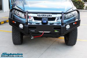 Front on close up of the fitted Ironman 4x4 Commercial Bull Bar with VRS Winch