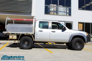Right side view of a Silver Mazda BT50 Dual Cab after fitment of a 35mm Lift Kit