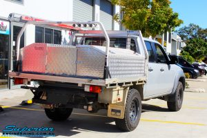 Rear right side view of a Silver Mazda BT50 Dual Cab after fitment of a 35mm Lift Kit