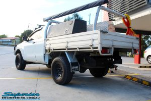 Rear left view of a White Mazda BT50 Freestyle Cab before fitment of a range of quality parts and accessories from Superior Engineering