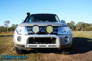 Front view of the bonnet on a Mitsubishi Exceed Pajero Wagon in Gold before fitment of a Ironman 4x4 Deluxe Black Commercial Bull Bar