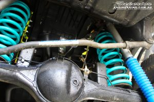 """Rear mid shot of the fitted Coil Tower Braces, Superior Remote Reservoir 2"""" Inch Shocks & Dobinson Coil Spring"""