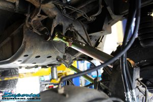 Front left underbody shot of the fitted Superior Upper & Lower Control Arms for the Nissan Patrol