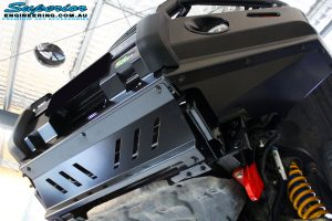 """Front left underbody shot of the fitted 2"""" Inch Remote Reservoir Front Strut, King Coil Spring + Ironman 4x4 Deluxe Black Bull Bar"""