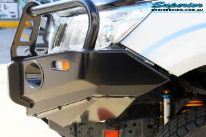 Left front side shot of the fitted Ironman 4x4 Deluxe Black Bull Bar