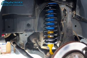 "Front left inside shot of the fitted 2"" Inch Front Bilstein Strut with Coil Spring"