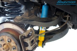"""Rear left inside guard shot of the fitted Bilstein 2"""" Rear Shock with Coil Springs"""