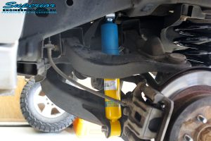 """Rear right inside guard shot of the fitted Bilstein 2"""" Rear Shock with Coil Springs"""