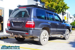 """Rear right view of a Silver Toyota 100 Series Landcruiser before fitment of a 2"""" Inch Lift Kit with Airbags"""