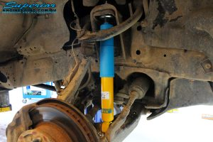 "Front right inside view of the fitted Bilstein 2"" Inch Shock"