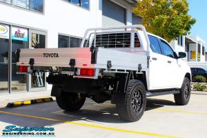 Rear right view of a Toyota Revo Hilux Dual Cab before fitment of Superior Upper Control Arms & a Diff Drop Kit
