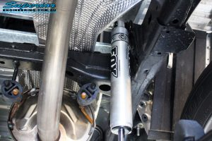 Rear close up right underbody view of the fitted Fox 2.0 Performance Series IFP Shock