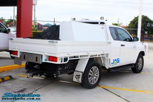 """Rear right view of a Toyota Revo Hilux Xtra Cab in White before fitment of a EFS 2"""" Inch Lift Kit"""