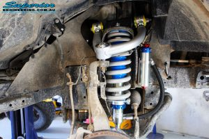 Front right inside guard view of the fitted Remote Reservoir Front Strut + Coil Springs
